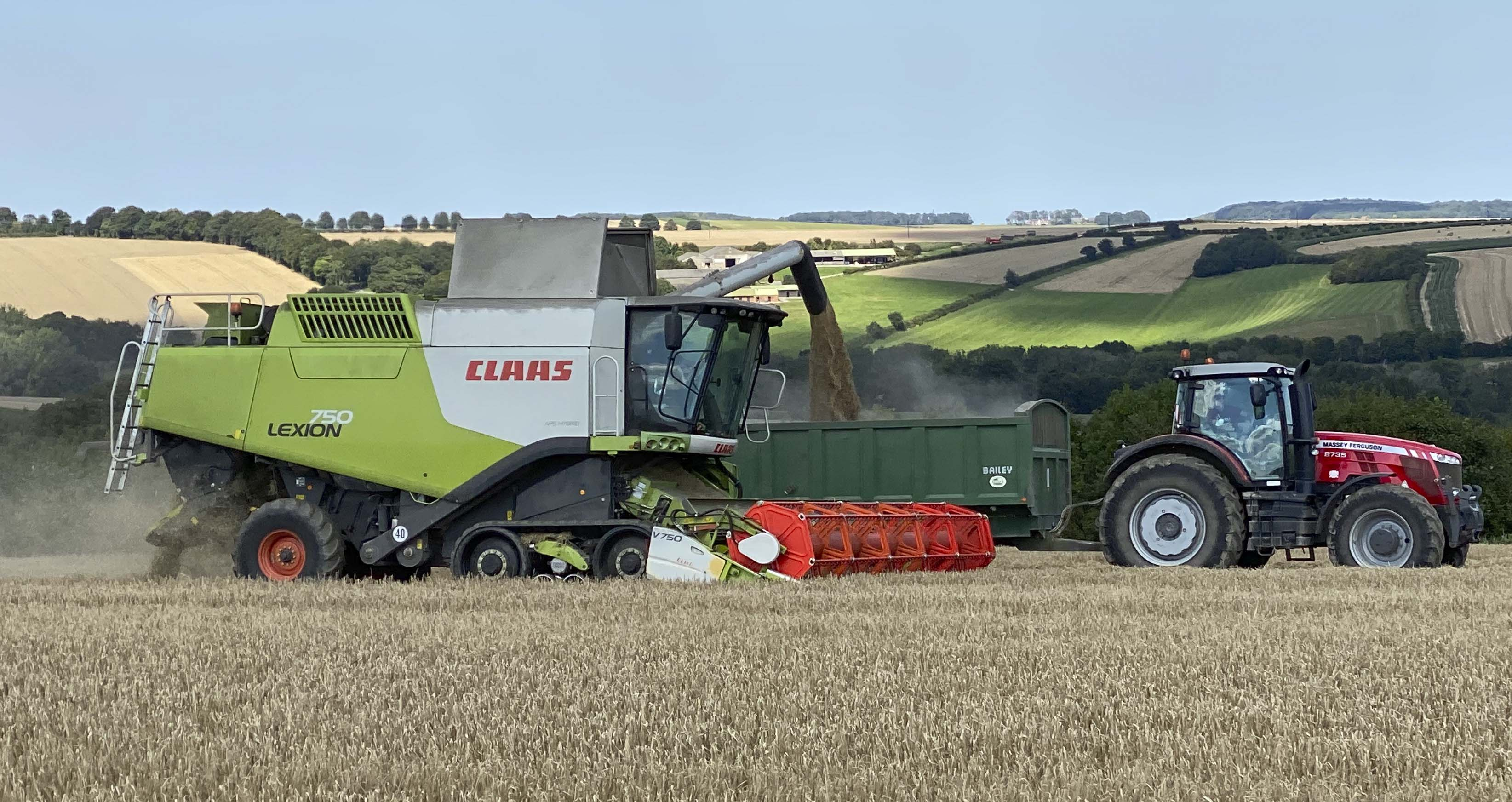 Tim harvesting in the Wolds.