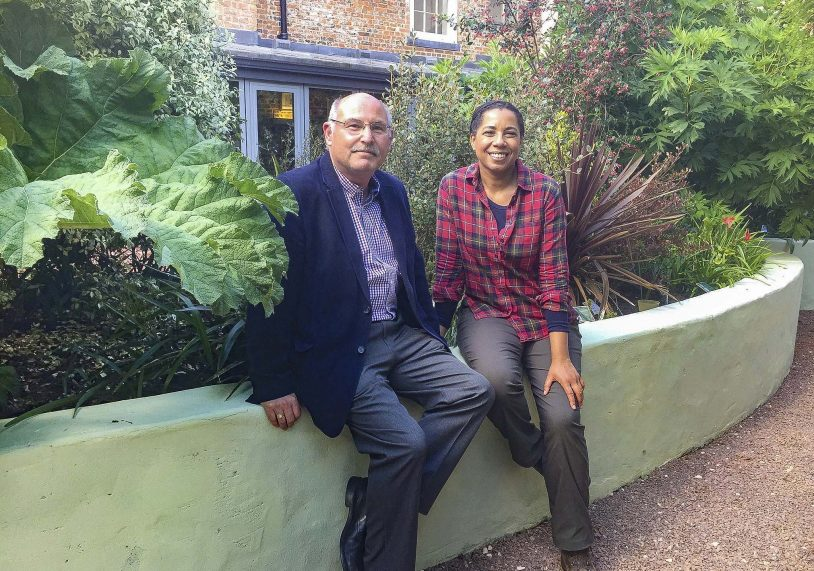 Paul Scott, one of the Trustees of the Joseph Banks Society with BBC Countryfile's Marguerita Taylor. The image was taken in the tribute garden to the rear of the society's new Natural Science Centre.