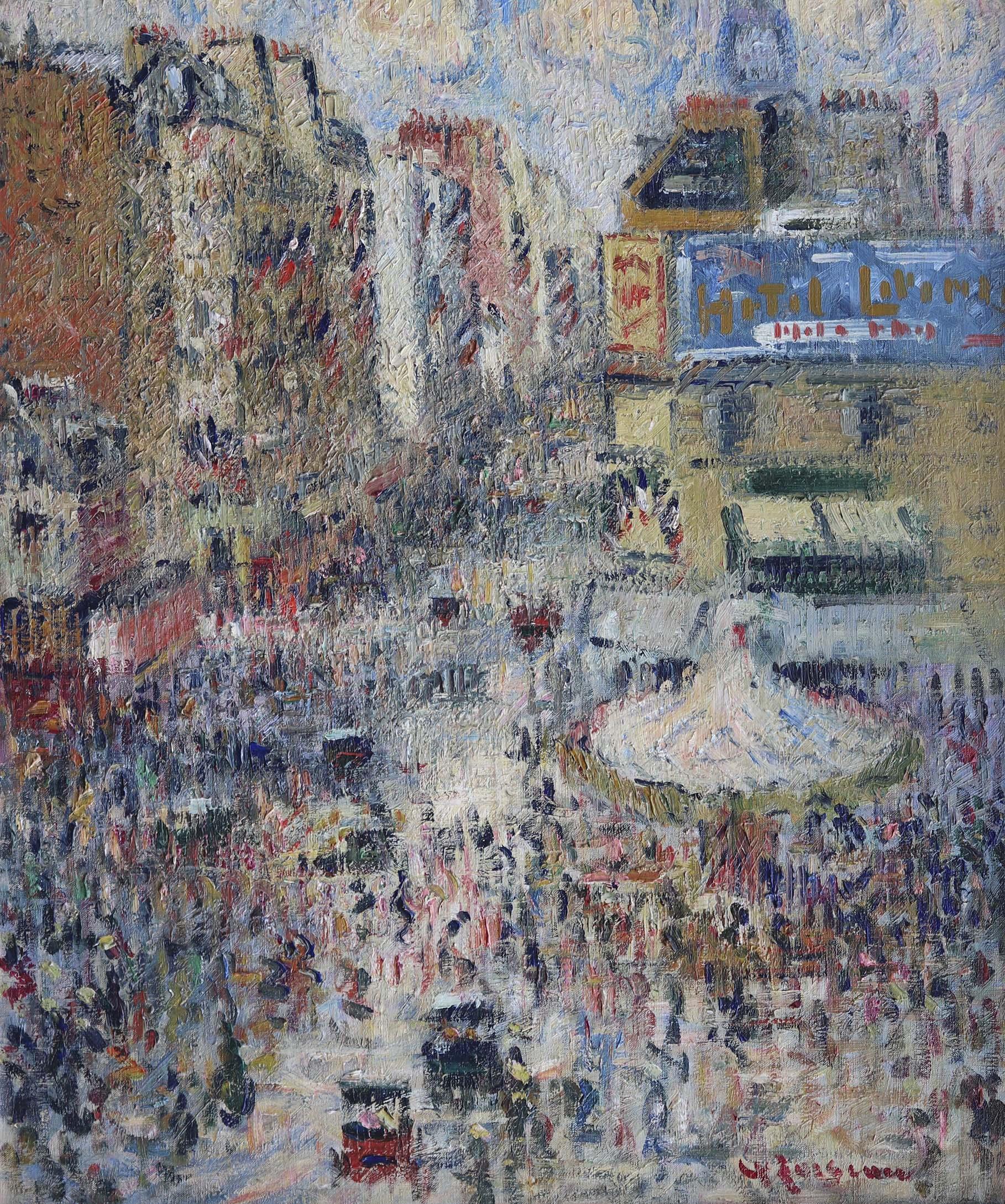 Rue de Clignancourt, soleil, le quatorze juillet by Gustave Loiseau, Oil on Canvas, 66cm x 55cm £195,000.