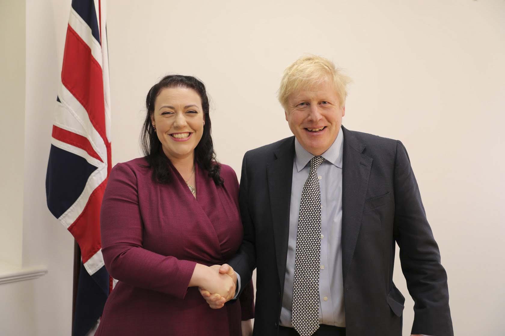 Alicia with PM Boris Johnson