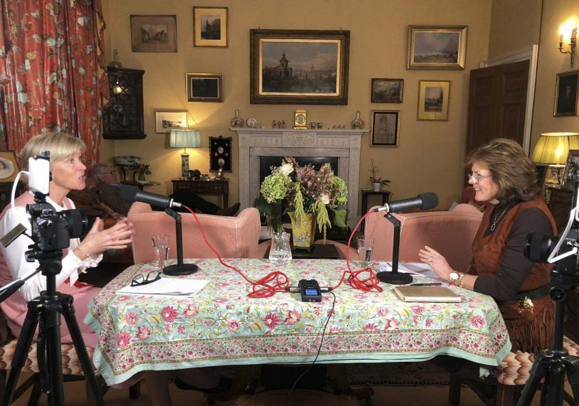 Her Grace the Duchess of Rutland (right) recording her podcast.