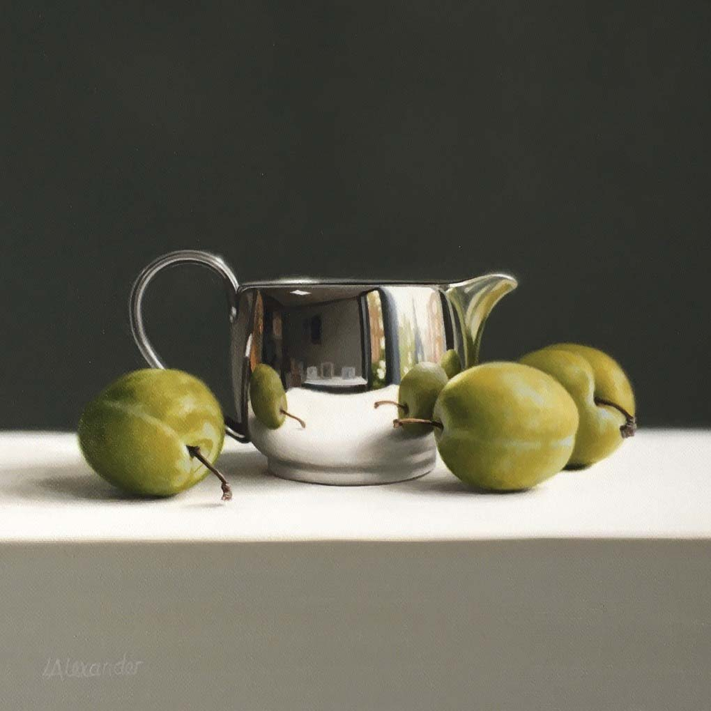 Silver Jug and Greengages, Oil on Canvas, 8.25 x 8.25 inches, £1,795.